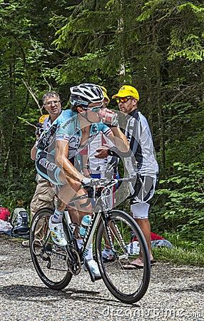 骑自行车者西尔万Chavanel-彻尔du Granier 2012年 编辑类库存照片
