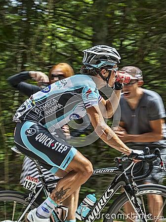 骑自行车者西尔万Chavanel-彻尔du Granier 2012年 编辑类库存图片