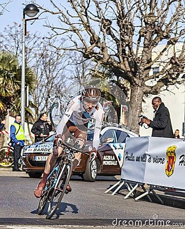骑自行车者Bardet罗迈因巴黎尼斯2013年Prologu 编辑类库存图片