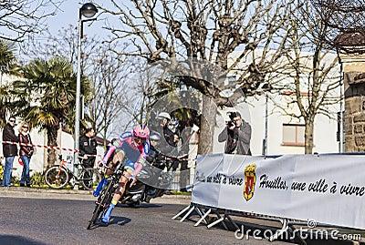 骑自行车者Cattaneo Mattia-巴黎尼斯2013年序幕在Houille 编辑类库存照片
