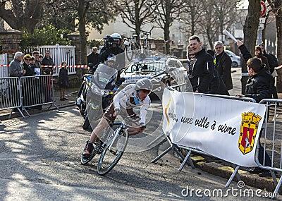 骑自行车者Dumoulin塞缪尔巴黎尼斯2013年Prolo 编辑类库存照片