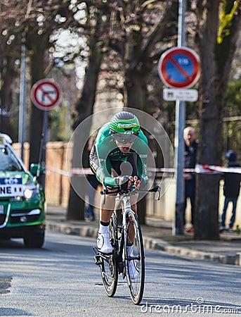 骑自行车者Malacarne达维德巴黎尼斯2013年序幕在Houill 图库摄影片