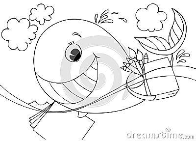 黑白例证(着色页) : 滑稽的鲸鱼游泳与他的画家的事例和画笔.图片