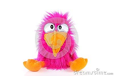 鸟滑稽的桃红色木偶