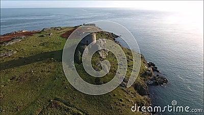鸟瞰图 废墟 Dalkey海岛 爱尔兰 股票录像