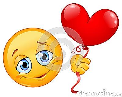 Émoticône avec le ballon de coeur