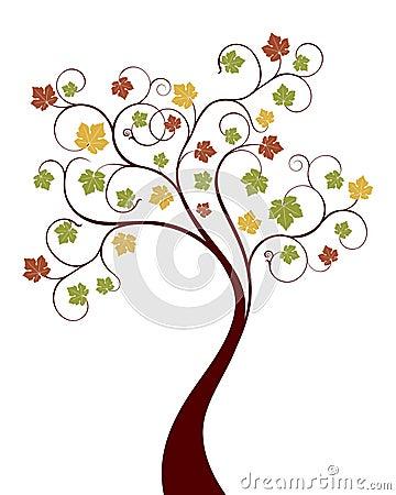 διάνυσμα δέντρων φθινοπώρο