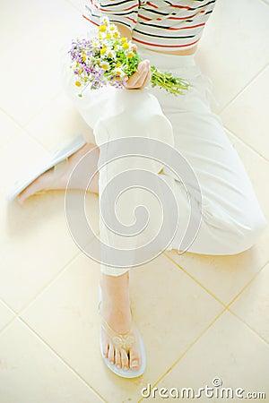 девушка цветков
