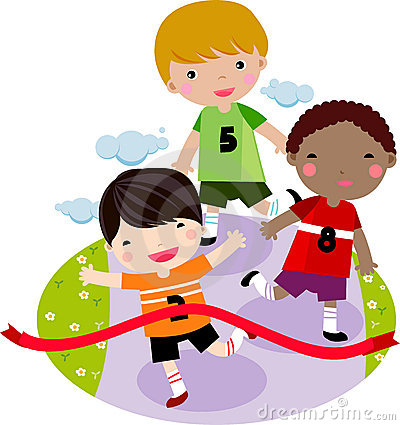 дети участвуют в гонке ход совместно