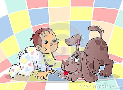 婴孩和小狗