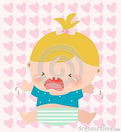 婴孩哭泣的女孩