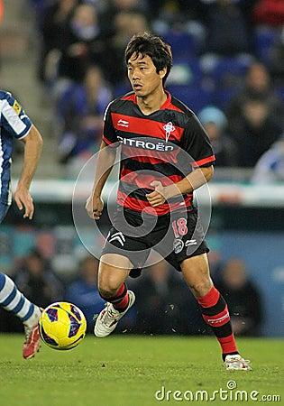 维戈塞尔塔足球俱乐部的Park Chu-young 编辑类库存照片