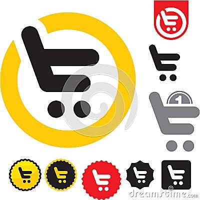 网址e图标_购物车图标. e购物符号.
