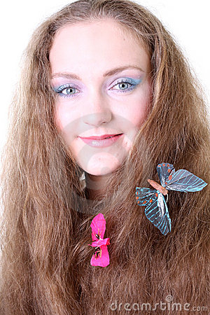 蝴蝶女孩头发图片