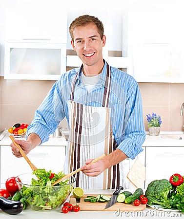 年轻人烹调