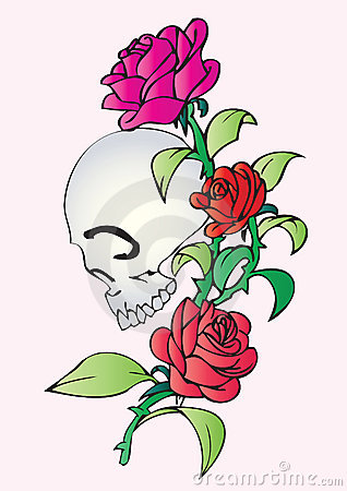 头骨和玫瑰的纹身花刺设计.