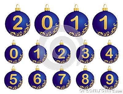 0 9个球蓝色圣诞节例证数字.