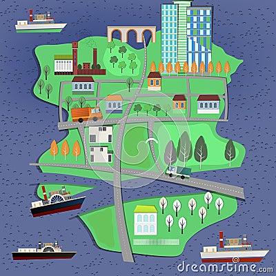 Free 02 City Landscape Map Stock Photo - 57127490