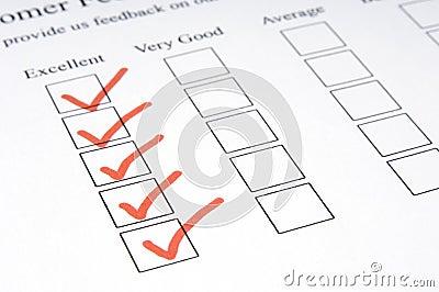 1份反馈表单