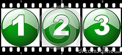 1,2,3 green number film strip