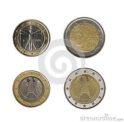 1, 2 euro coins