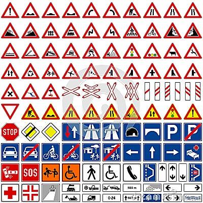 (1) kolekci znaków ruch drogowy