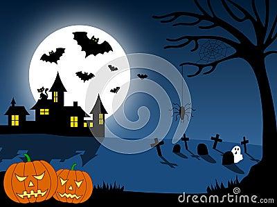 1 miasto Halloween scena