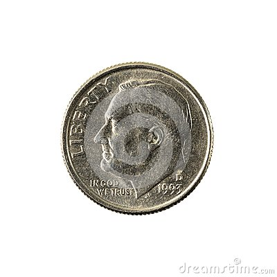 Free 1 United States Dime Coin 1993 Reverse Stock Photos - 122985763
