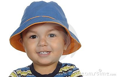 1-year-old boy with blue hat