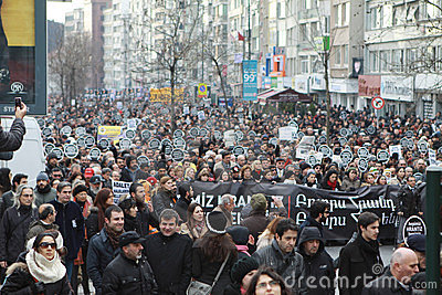 10,000 protesters walked for Hrant Dink. Editorial Photo