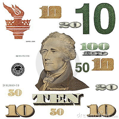 10 $ banknote, photo dollar bill elements