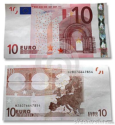 10 Euro. Hoofd en het omgekeerde