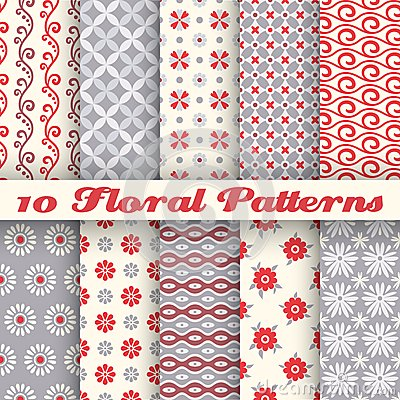 Free 10 Floral Fashionable Vector Seamless Patterns (tiling) Stock Photos - 40506033
