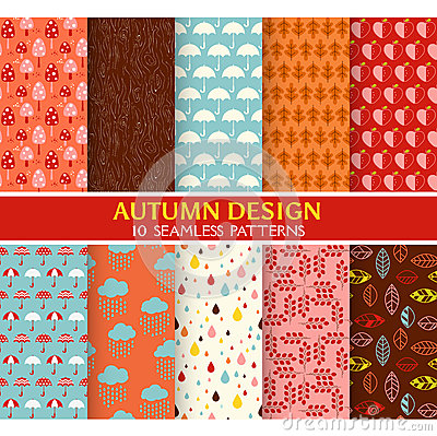 Free 10 Seamless Patterns - Autumn Set Royalty Free Stock Images - 44292379
