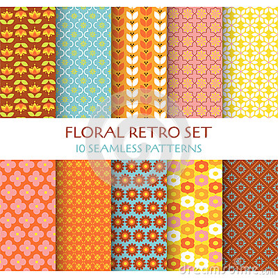 Free 10 Seamless Patterns - Floral Retro Royalty Free Stock Photos - 42913248