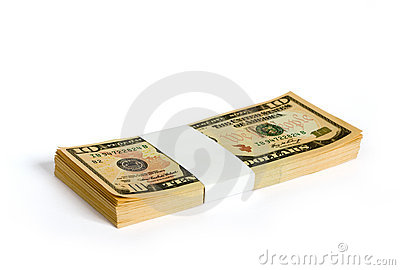 το δολάριο 10 τραπεζών σημειώνει wad
