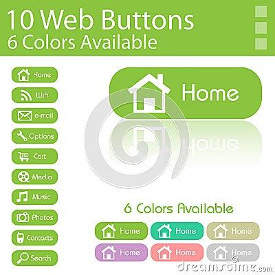 10 Web Buttons Layout. 6 Diferent Colors