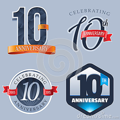 Free 10 Years Anniversary Logo Royalty Free Stock Photography - 64124677