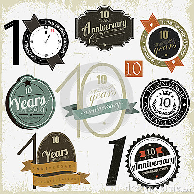 10 years anniversary signs and cards