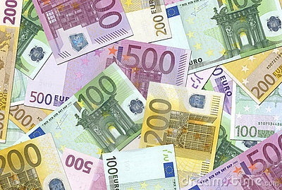 100,200,500 Euro Notes Texture