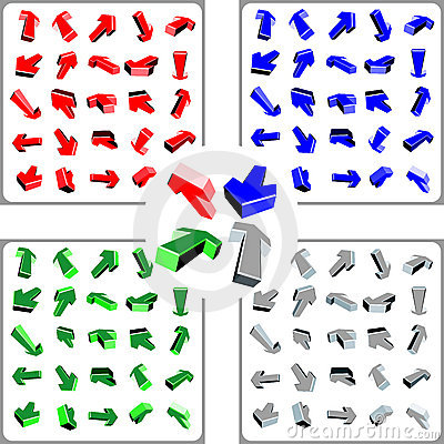 100 3d color arrows
