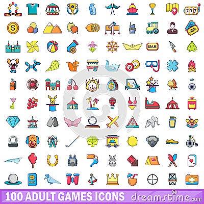Free 100 Adult Games Icons Set, Cartoon Style Stock Image - 102898301