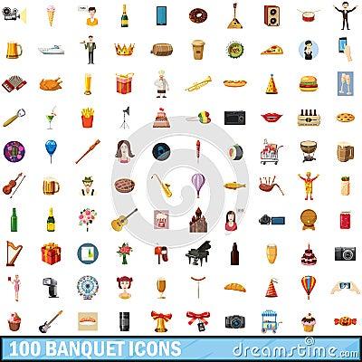 Free 100 Banquet Icons Set, Cartoon Style Royalty Free Stock Photo - 94941965