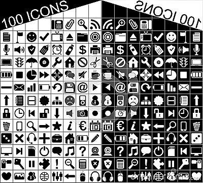 100 Black White Web Applications Icons Icon