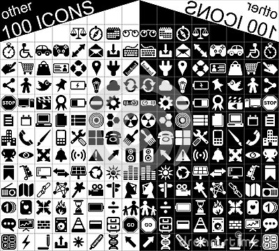 100 Black and White Web and Applications Icons