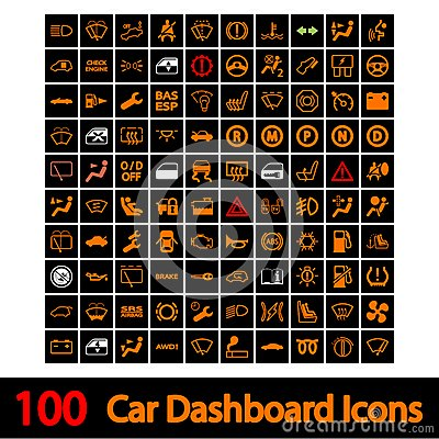 Free 100 Car Dashboard Icons. Royalty Free Stock Photo - 29970725