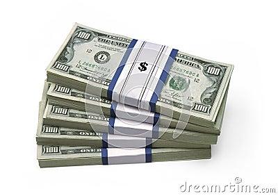 $100 contas - empilhadas