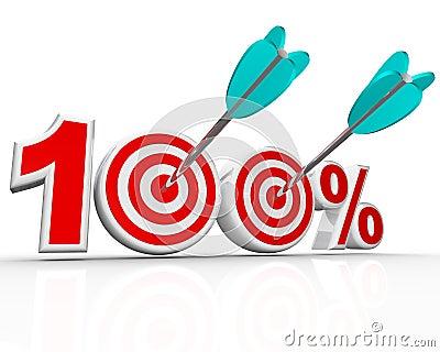 100 de Pijlen van percenten in de Perfecte Score van Doelstellingen