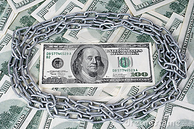 100 dolarowy i okrąg łańcuch