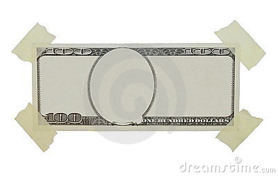 100$ dollar bill and adhesive tape isolated
